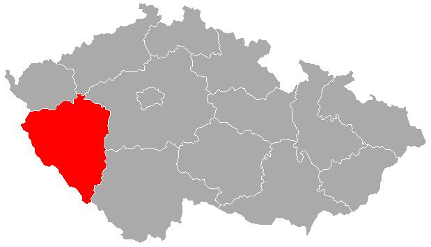 Mapa ČR s červeně zvýrazněným Plzeňským krajem