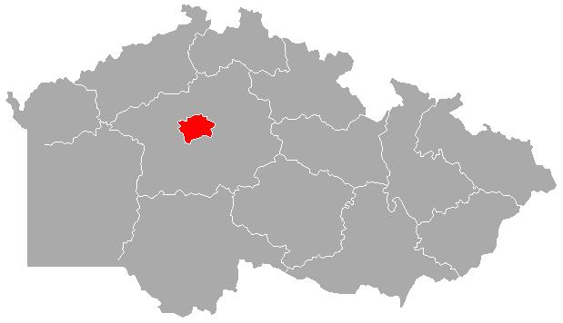 Mapa ČR s červeně zvýrazněnou Prahou